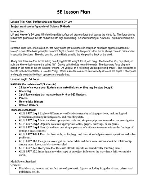 5e Lesson Plan Template Science 5 e lesson plan template 5e lesson plan template school lesson plan templates