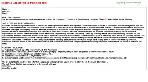 appointment letter format for ceo ceo offer letter