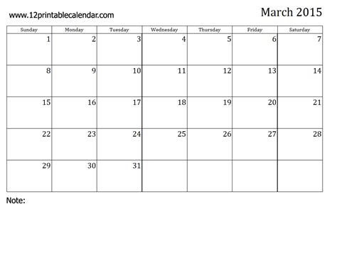 printable monthly calendar 2015 starts on monday image gallery month of march 2015