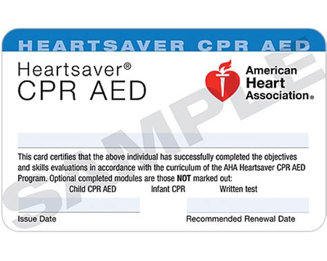heartsaver cpr aed card template replacement card