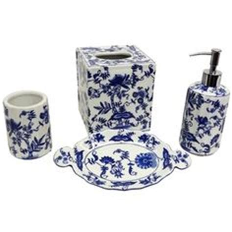 blue and white porcelain bathroom accessories blue and white florettes porcelain bath accessory 4 piece