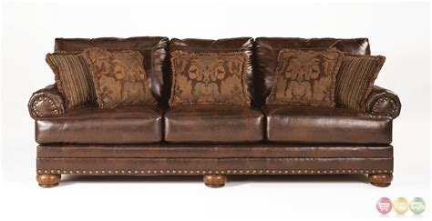 Leather Sofa Nailhead Antique Brown Bonded Leather Sofa Rolled Arms Nailhead Trim With Pillows Ebay