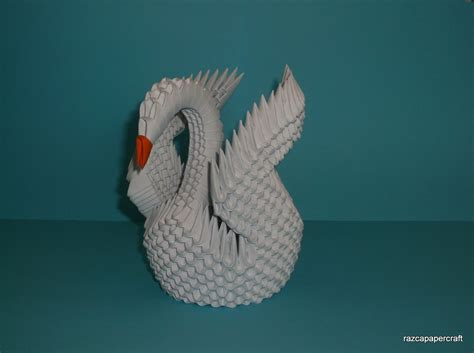 How To Make A 3d Swan Origami - razcapapercraft how to make 3d origami swan model3
