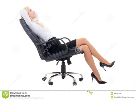White Sitting Chair Happy Business Sitting On Office Chair Isolated