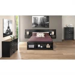 prepac series 9 designer floating w nightstands black