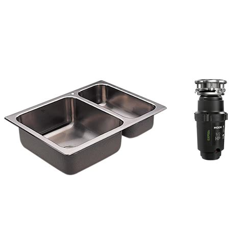 Kitchen Sink With Garbage Disposal Moen 2000 Series Drop In Stainless Steel 25 5 In 1 Basin Kitchen Sink With Gx Pro