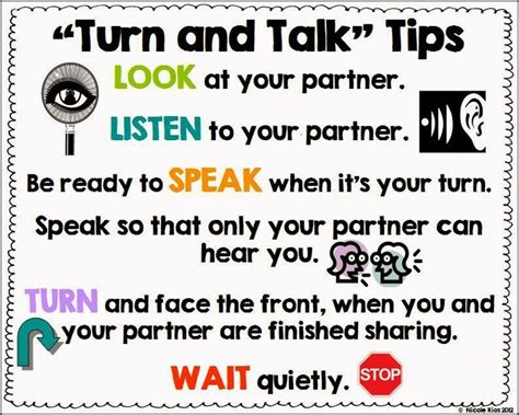7 Tips On Talking To Your About by Turn And Talk Tips Poster Freebie Classroom Ideas