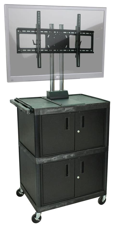 multimedia cart with locking cabinet black multimedia cart w dual storage compartments locking