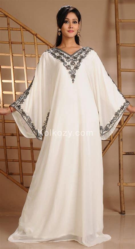 White Kaftan Dress awesome white color faux georgette modern kaftan