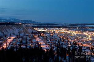 Canada Duvet Cover Downtown Whitehorse Yukon T Canada At Winter Night