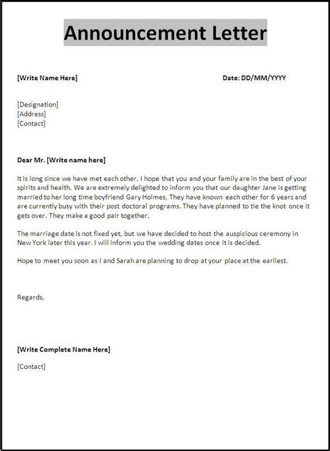 Announcement Letter Template Free Word Templates Free Email Announcement Template