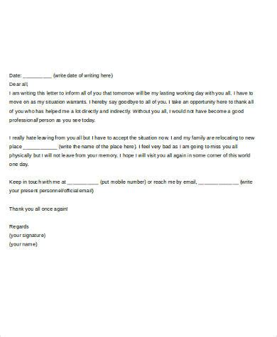 farewell letter to colleagues template sle farewell letter to colleague 5 free documents in
