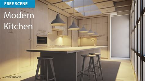 Interior Designer free cinema 4d scene modern kitchen muse creative