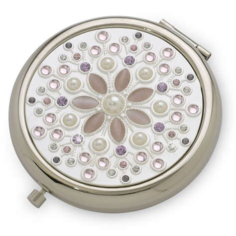 pretty in pink silver luxury compact mirror with
