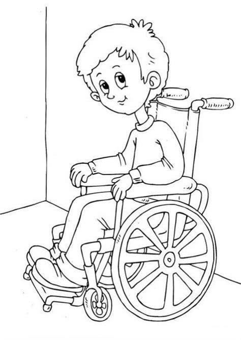 Imagenes Para Colorear Rueda | chico en silla de ruedas para colorear a un nino invalido