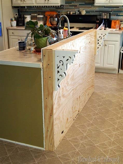 how to add a kitchen island diy corbels for a breakfast bar reality daydream