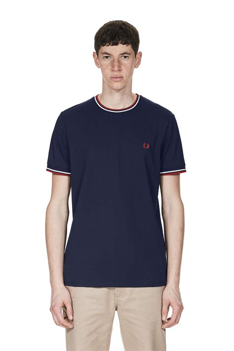 Fred Perry T Shirt fred perry tipped t shirt carbon blue