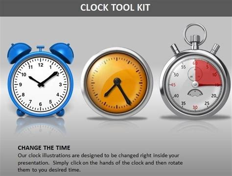 powerpoint themes clock editable clock powerpoint template with timepieces