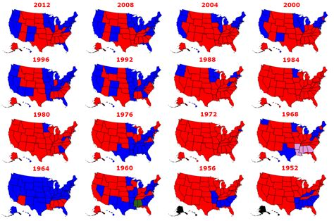 map of us electoral votes the results of every presidential election in history