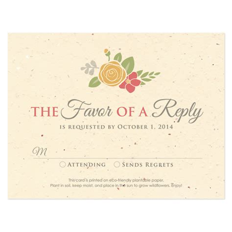 wedding response cards floral wreath seasons reply card plantable seed wedding reply cards catalog botanical