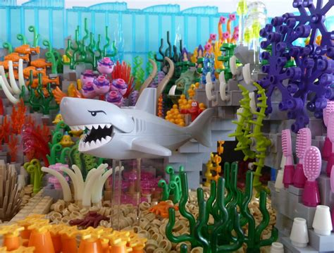 set of two vibrant red coral reef look figurines beach lego ideas the coral reef and the shark