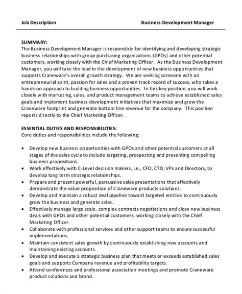 Business Development Officer Description by Sle Business Development Description 9 Exles In Pdf Word