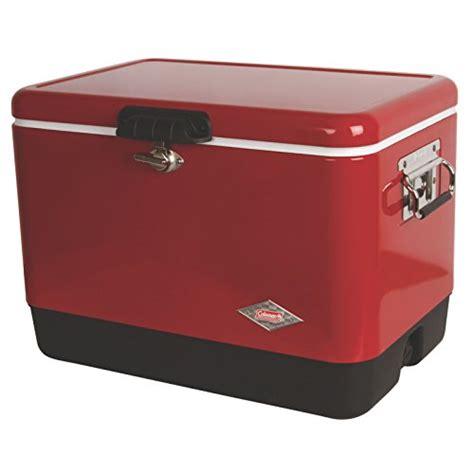 coleman 54 quart steel cooler coleman 54 quart steel belted cooler red at