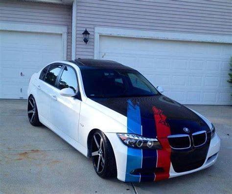 Striper White bmw e90 3 series white and black with m stripe bmw