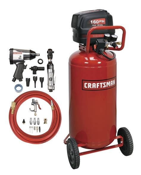 craftsman 16760 26 gal air compressor with air tool kit 1 6 hp vertical tank 160 max psi