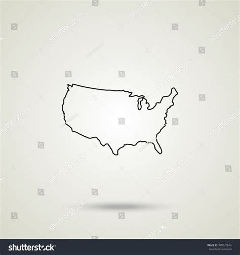 us map outline icon united states detailed map outline map icon stock vector