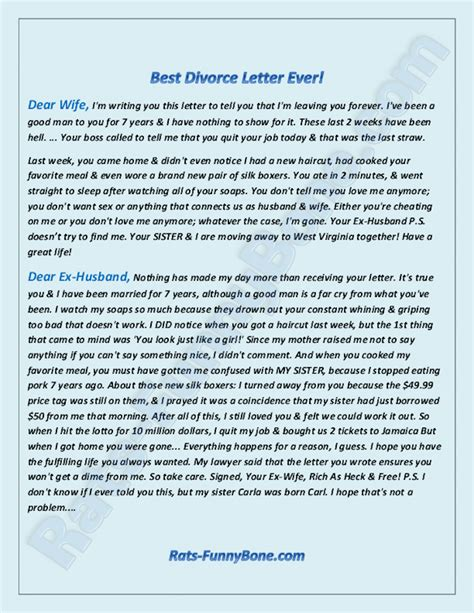 Divorce Letter To Inlaws Dear Ex Husband The Best Divorce Letter Rats Funnybone