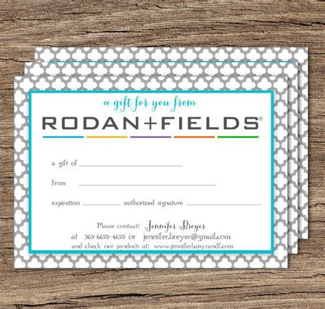 Rodan And Fields Business Cards Template by Rodan And Fields Gift Certificate Printable By