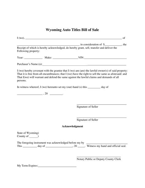 sle of notary free wyoming motor vehicle bill of sale form pdf