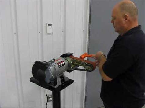 convert bench grinder to sander multitool belt tracking tips youtube