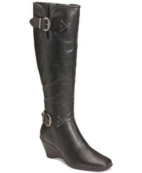 aerosoles black wonderful wedge boots lyst