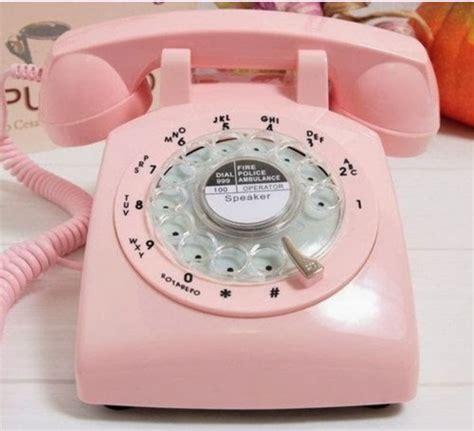 pink rotary retro cord telephone phone vintage 1970 s