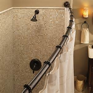 Bathroom Shower Rods Curved Shower Moen 174 Adjustable Curved World Bronze Shower Rod Www Bedbathandbeyond Ca