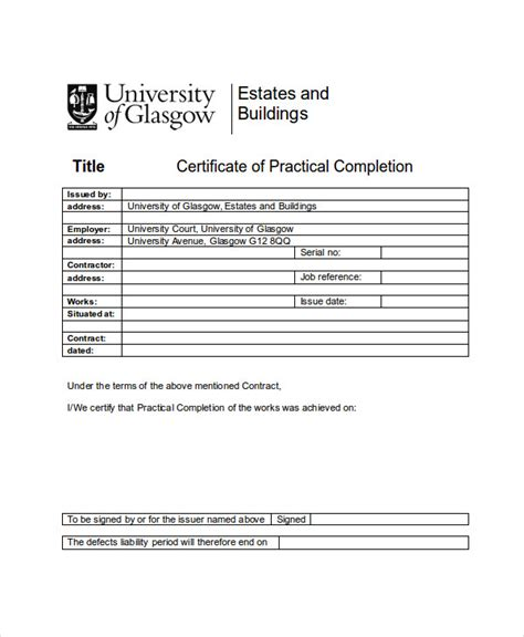 practical completion certificate template 26 completion certificate exles psd pdf word