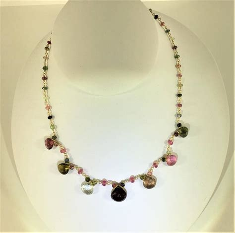 Beautiful Handmade Necklaces - beautiful handmade multi color tourmaline and 18 karat