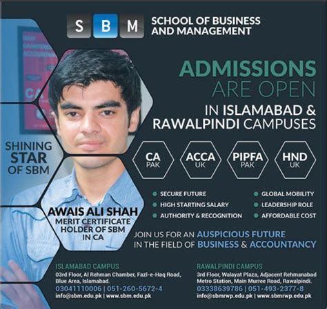 Business School Acca Mba by Admission Open In School Of Business And Management