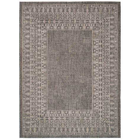 8 ft outdoor rug safavieh courtyard black bone 8 ft x 11 ft indoor outdoor area rug cy6201 216 8 the home depot