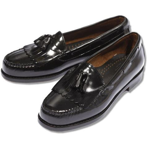 shoes loafer bass weejuns league all leather tassel fringe layton
