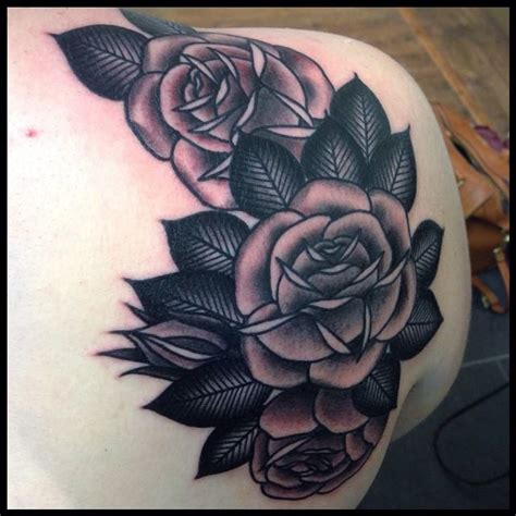 black rose back tattoo black and grey roses on back shoulder