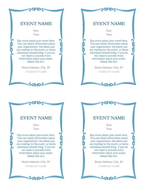 per invite template event invitations 4 per page