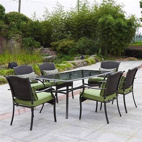 6 Seat Patio Dining Set Mainstays Crossman 7 Patio Dining Set Green Seats 6 Pertaining To Inspire Your Home Cozy