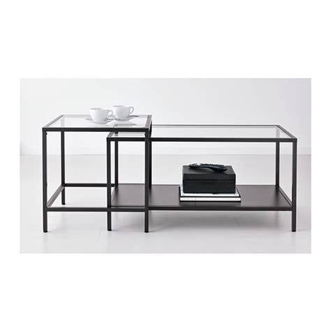 vittsj 214 nest of tables set of 2 black brown glass 90x50