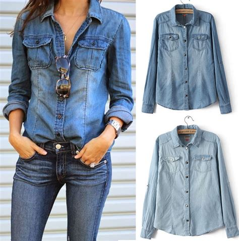 Kemeja Oversized Top fashion retro casual blue jean denim sleeve