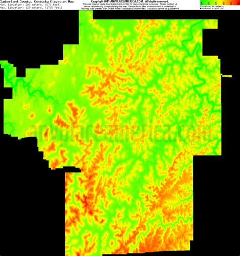 kentucky elevation map free cumberland county kentucky topo maps elevations