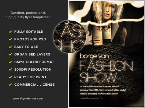 templates for fashion show flyers fashion show flyer template flyerheroes