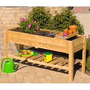 dmc cedar wood raised planter box with tray at hayneedle